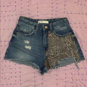 ZARA Denim shorts with rhinestone details